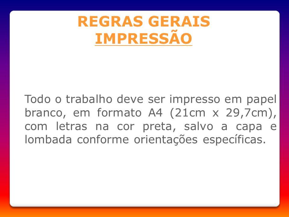 REGRAS GERAIS IMPRESSÃO
