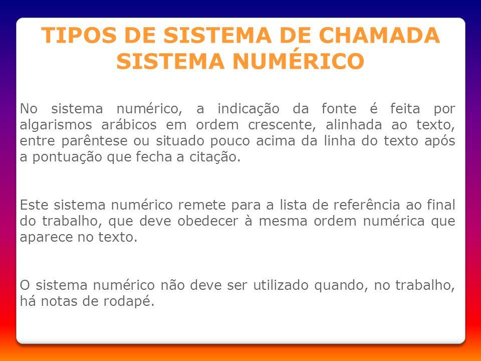 TIPOS DE SISTEMA DE CHAMADA