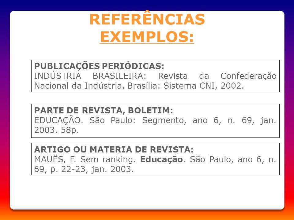 REFERÊNCIAS EXEMPLOS: