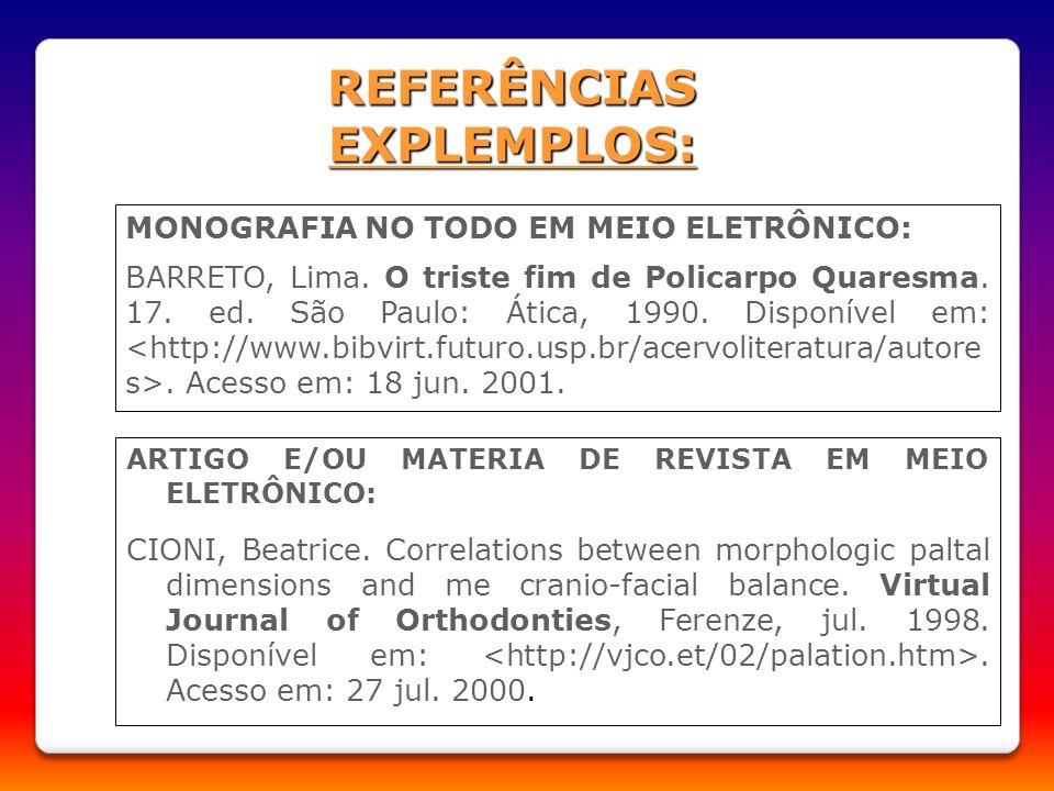 REFERÊNCIAS EXPLEMPLOS: