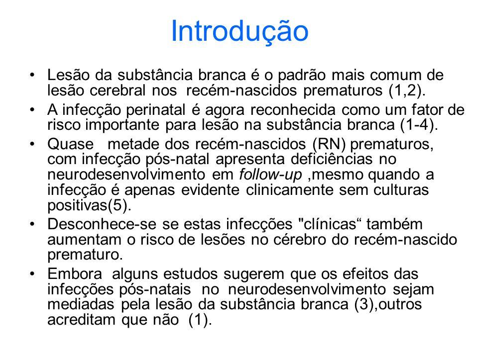 Introdução Lesão da substância branca é o padrão mais comum de lesão cerebral nos recém-nascidos prematuros (1,2).