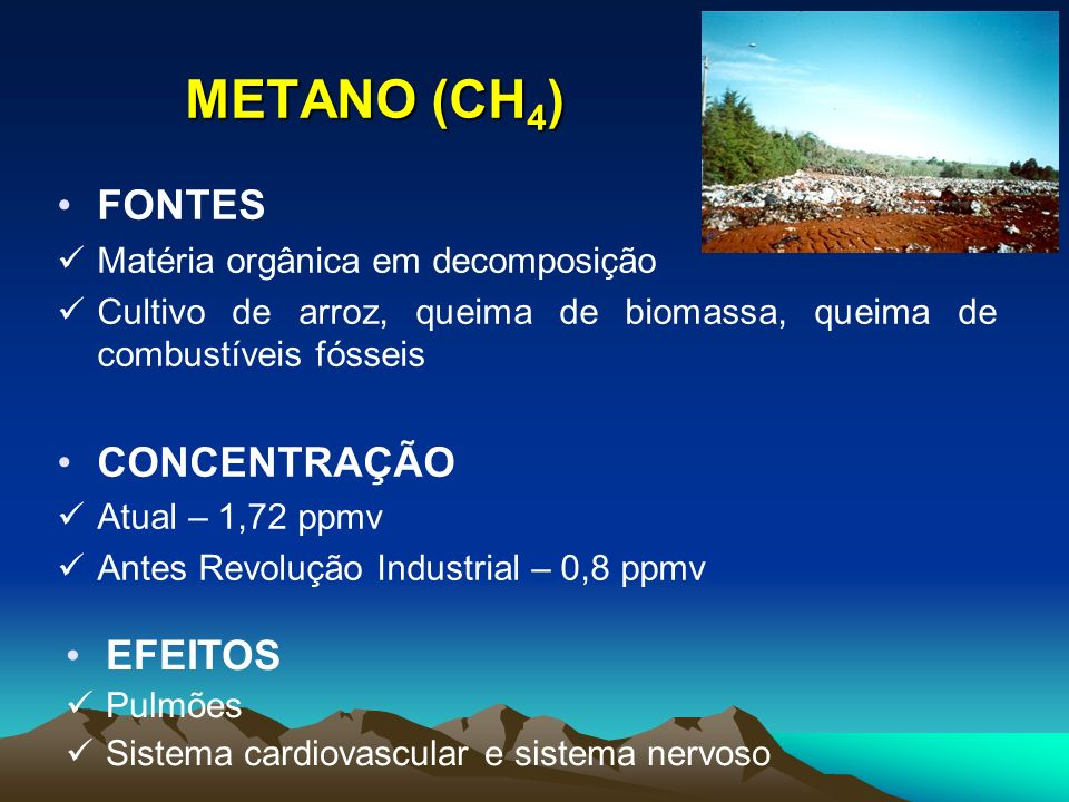 METANO (CH4) FONTES CONCENTRAÇÃO EFEITOS