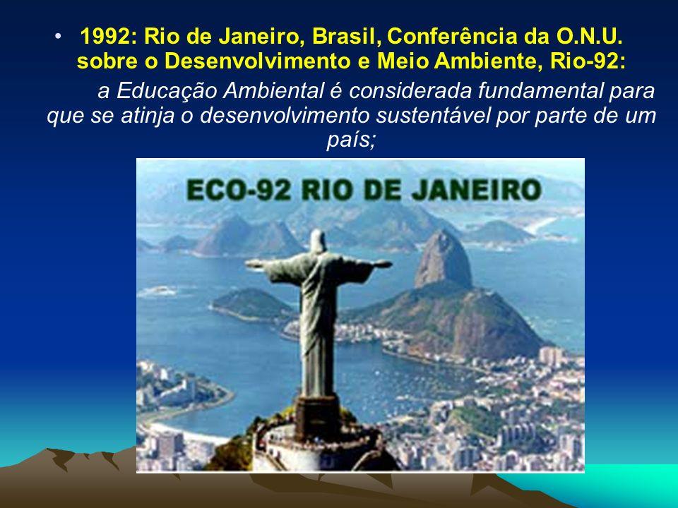 1992: Rio de Janeiro, Brasil, Conferência da O. N. U