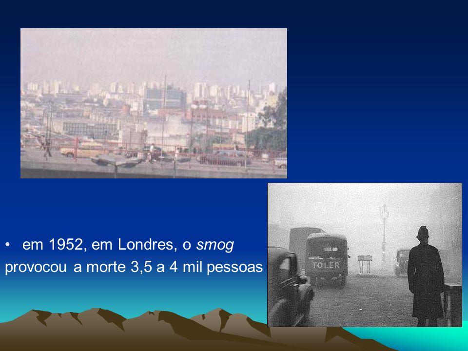 em 1952, em Londres, o smog provocou a morte 3,5 a 4 mil pessoas