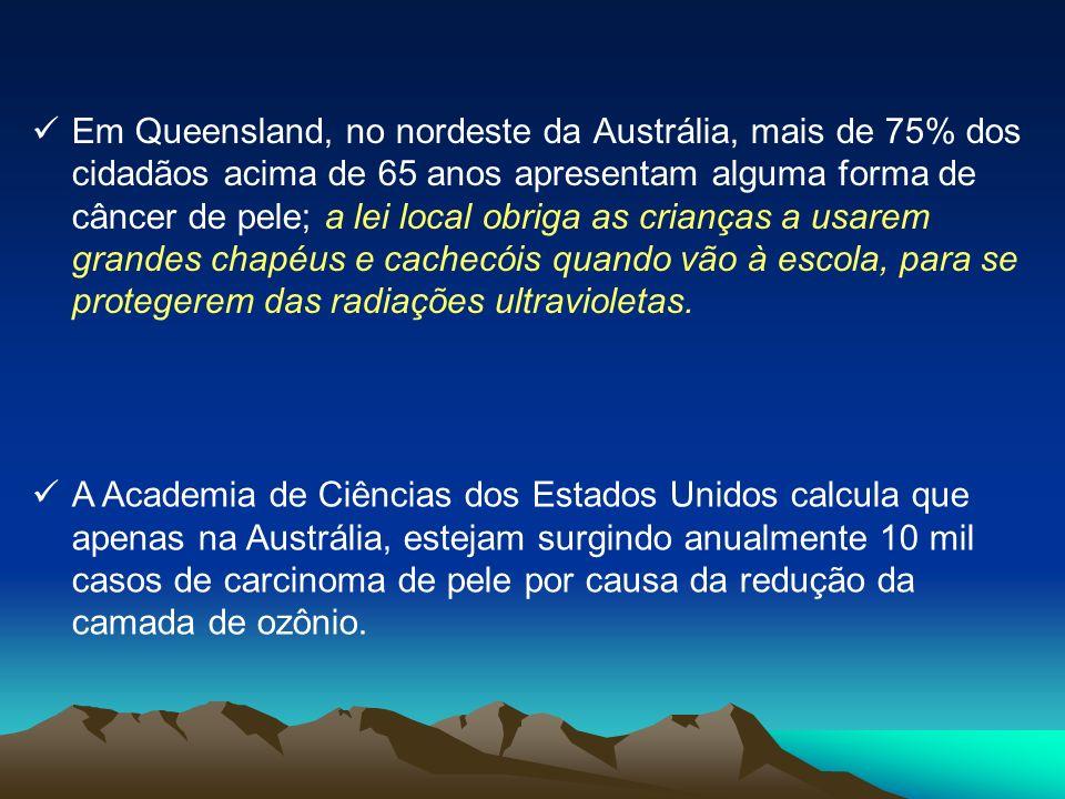 Em Queensland, no nordeste da Austrália, mais de 75% dos cidadãos acima de 65 anos apresentam alguma forma de câncer de pele; a lei local obriga as crianças a usarem grandes chapéus e cachecóis quando vão à escola, para se protegerem das radiações ultravioletas.