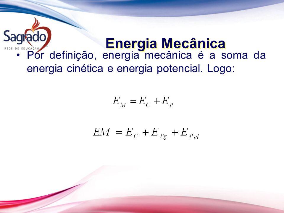 Energia Mecânica Por definição, energia mecânica é a soma da energia cinética e energia potencial.