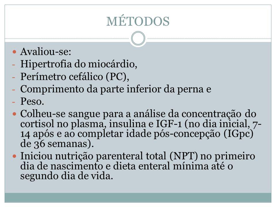 MÉTODOS Avaliou-se: Hipertrofia do miocárdio, Perímetro cefálico (PC),