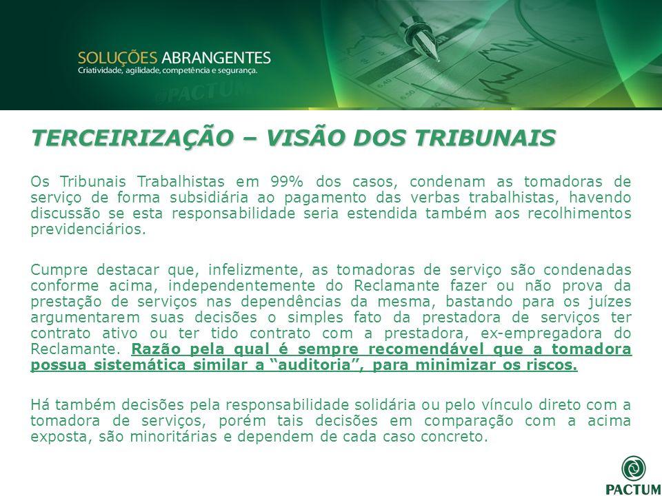 TERCEIRIZAÇÃO – VISÃO DOS TRIBUNAIS