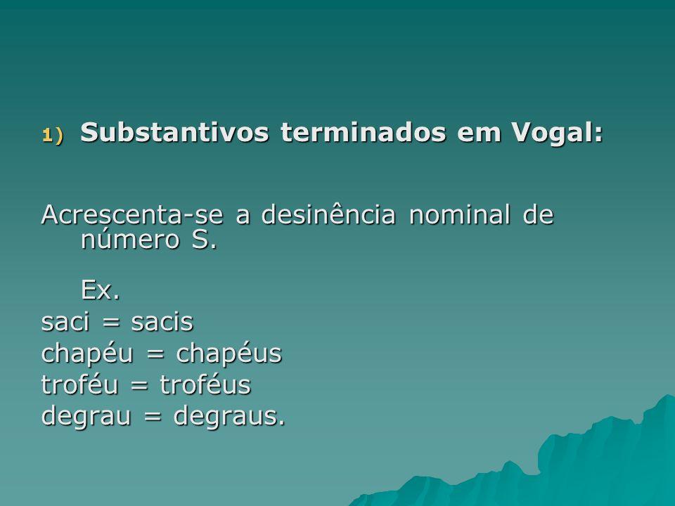 Substantivos terminados em Vogal: