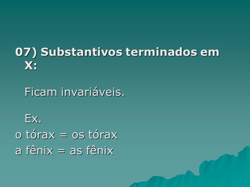 07) Substantivos terminados em X: Ficam invariáveis. Ex.