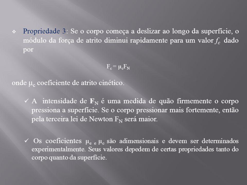 onde µc coeficiente de atrito cinético.