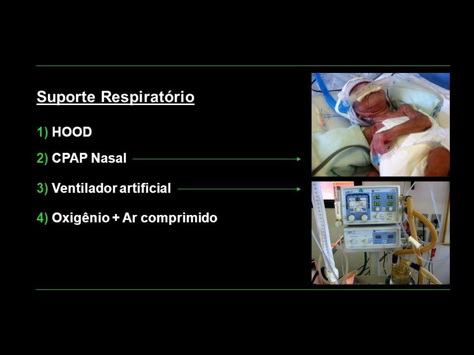 Suporte Respiratório 1) HOOD 2) CPAP Nasal 3) Ventilador artificial