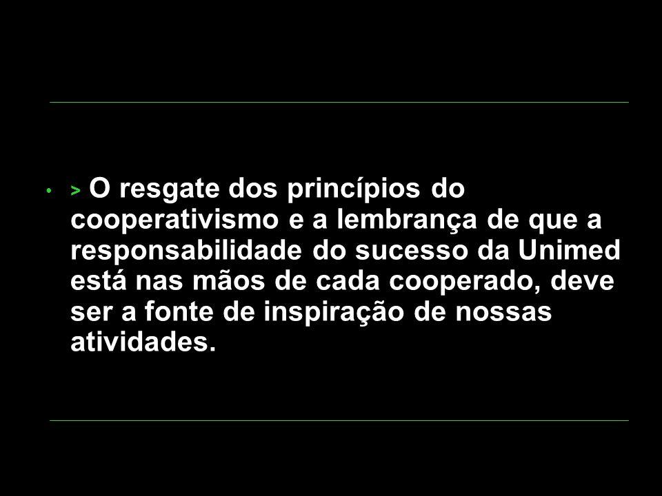 > O resgate dos princípios do cooperativismo e a lembrança de que a responsabilidade do sucesso da Unimed está nas mãos de cada cooperado, deve ser a fonte de inspiração de nossas atividades.