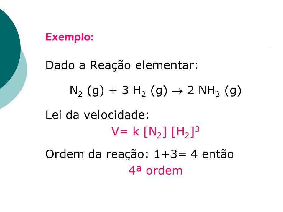Dado a Reação elementar: N2 (g) + 3 H2 (g)  2 NH3 (g)