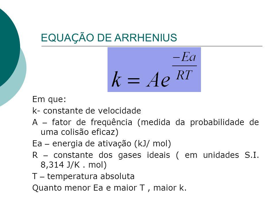 EQUAÇÃO DE ARRHENIUS Em que: k- constante de velocidade