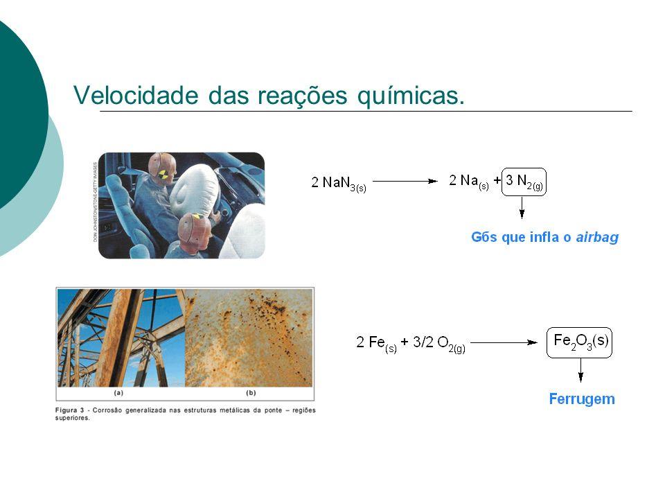 Velocidade das reações químicas.