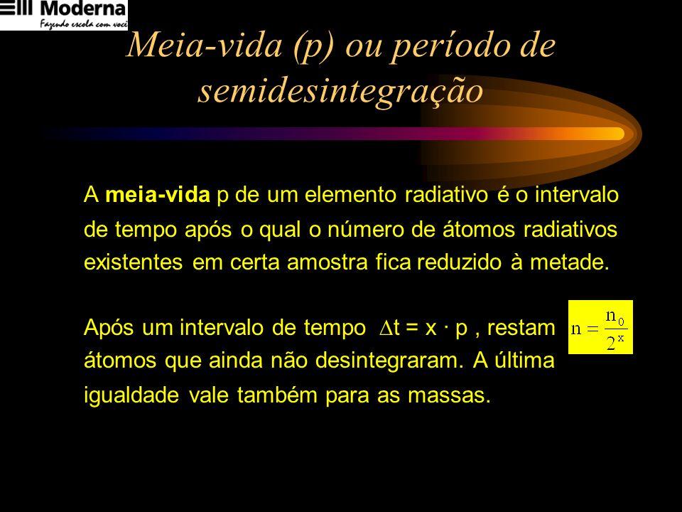 Meia-vida (p) ou período de semidesintegração