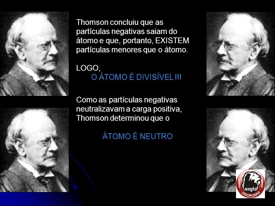 Thomson concluiu que as partículas negativas saiam do átomo e que, portanto, EXISTEM partículas menores que o átomo.