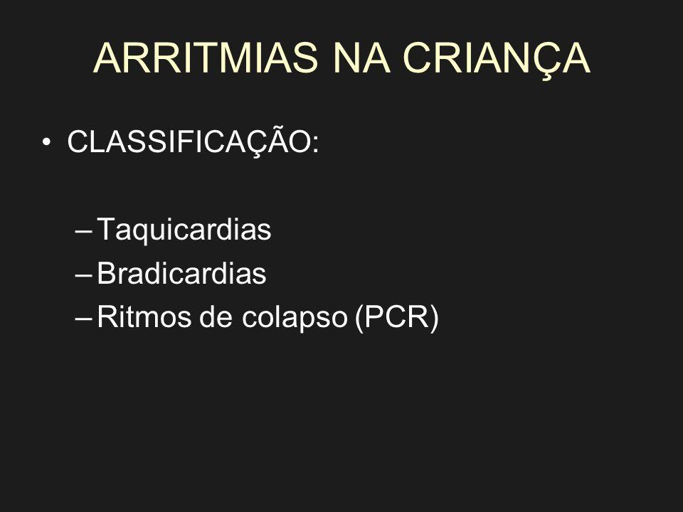 ARRITMIAS NA CRIANÇA CLASSIFICAÇÃO: Taquicardias Bradicardias