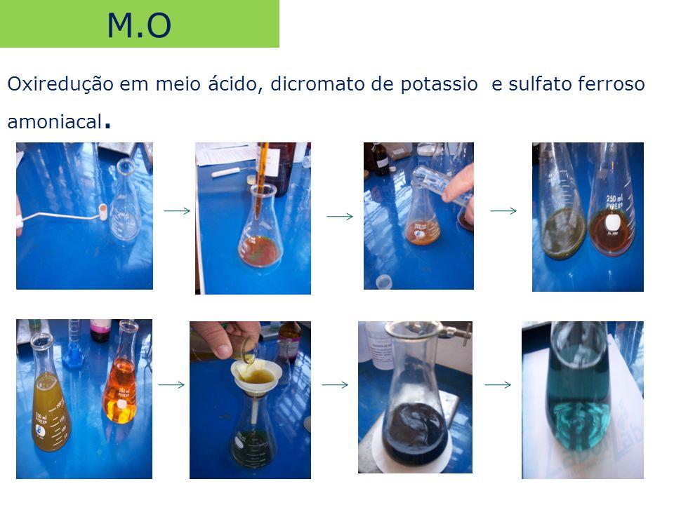 M.O Oxiredução em meio ácido, dicromato de potassio e sulfato ferroso amoniacal.