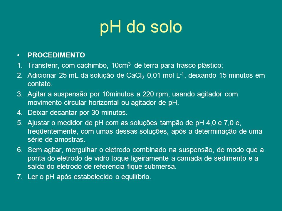 pH do solo PROCEDIMENTO