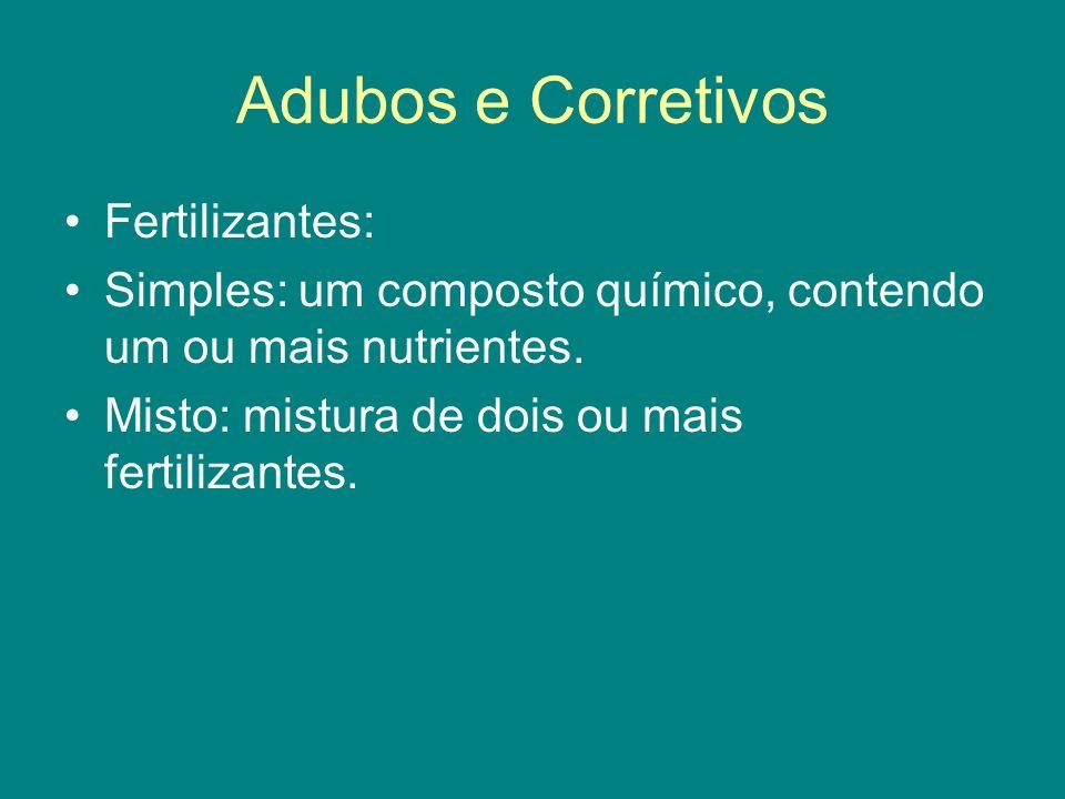 Adubos e Corretivos Fertilizantes: