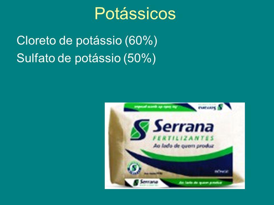 Potássicos Cloreto de potássio (60%) Sulfato de potássio (50%)