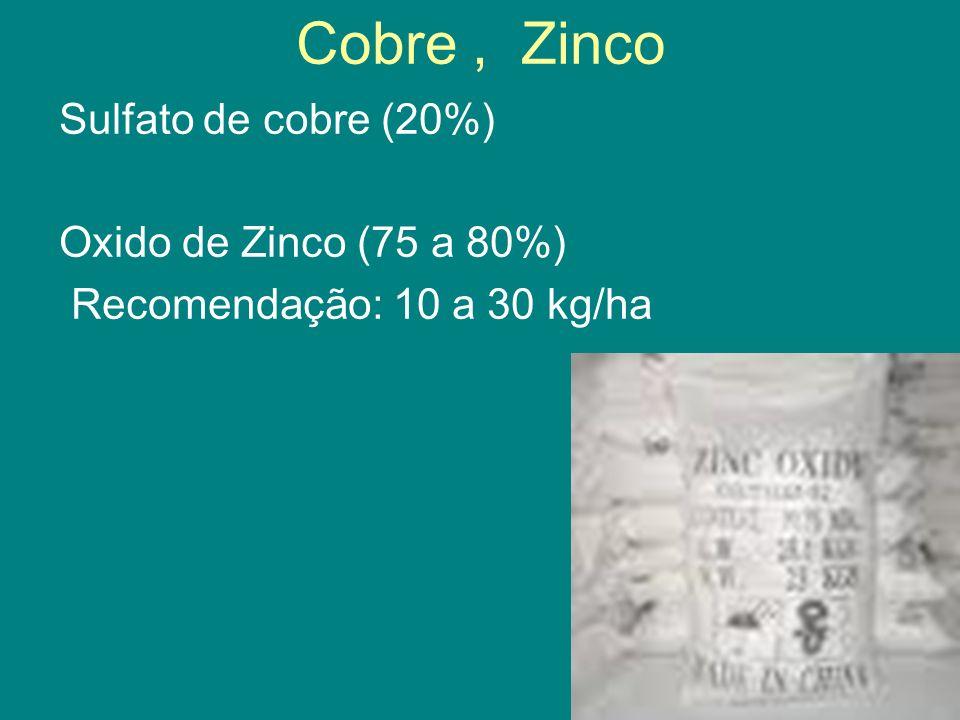 Cobre , Zinco Sulfato de cobre (20%) Oxido de Zinco (75 a 80%) Recomendação: 10 a 30 kg/ha
