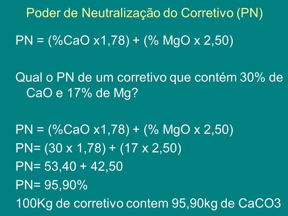 Poder de Neutralização do Corretivo (PN)