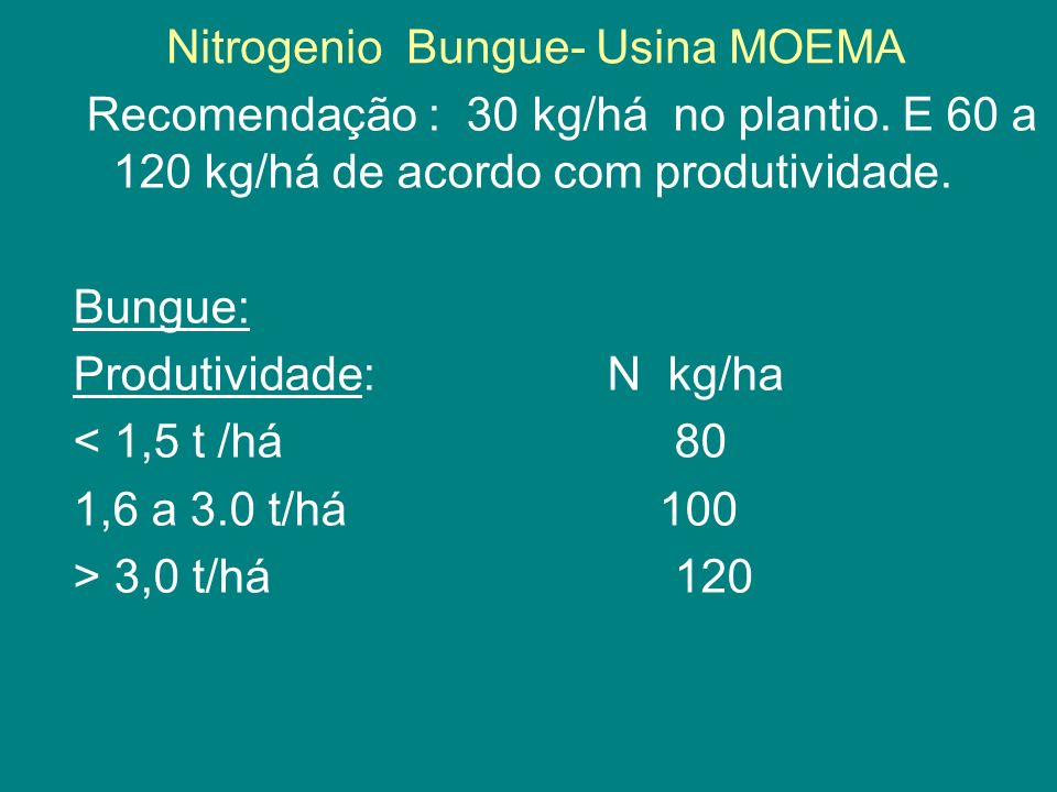 Nitrogenio Bungue- Usina MOEMA