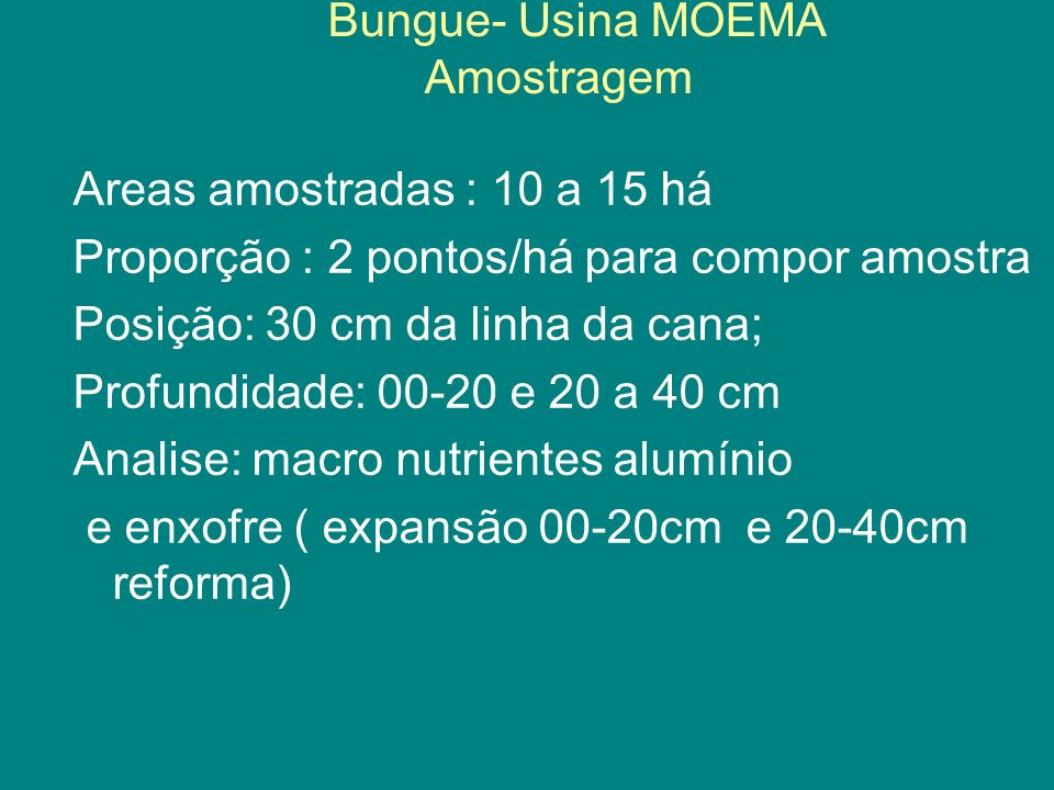 Bungue- Usina MOEMA Amostragem