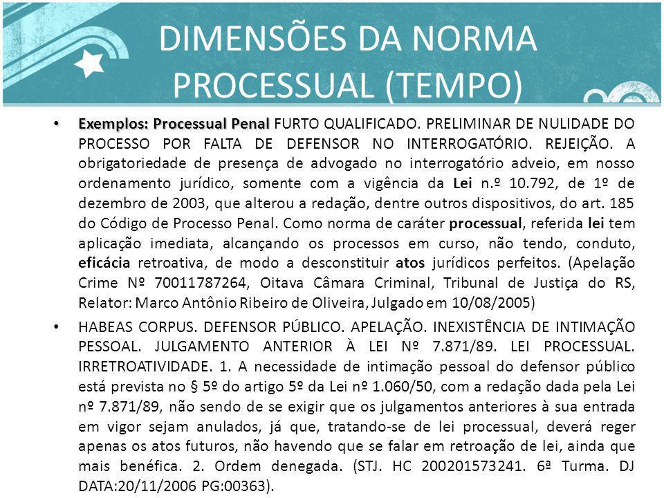 DIMENSÕES DA NORMA PROCESSUAL (TEMPO)