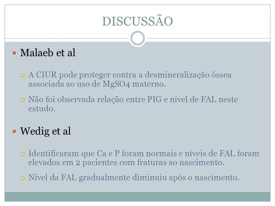 DISCUSSÃO Malaeb et al Wedig et al