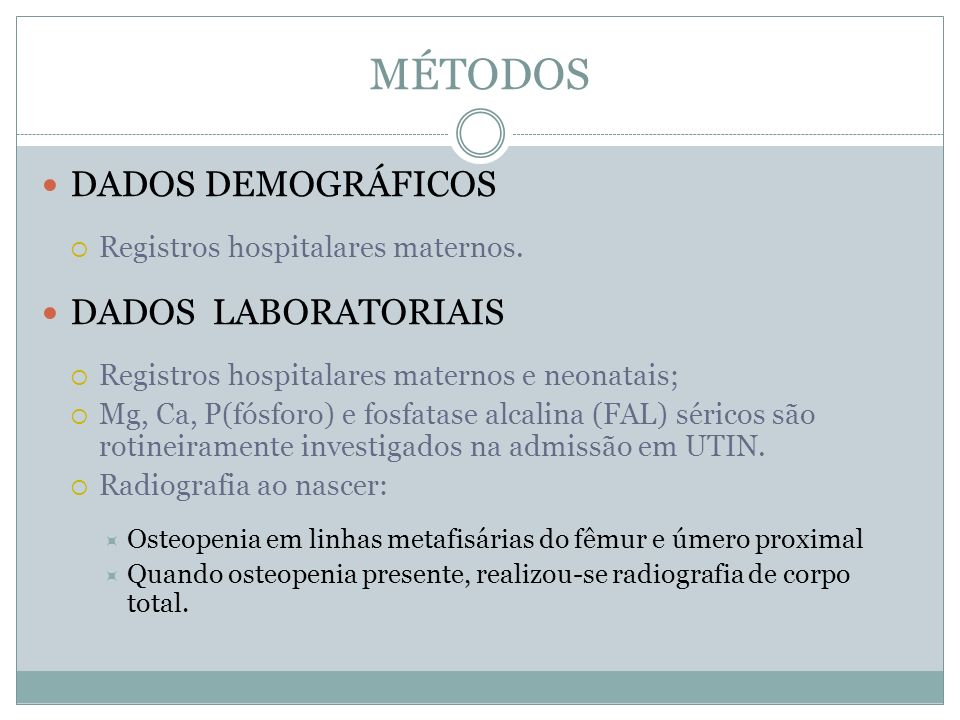 MÉTODOS DADOS DEMOGRÁFICOS DADOS LABORATORIAIS