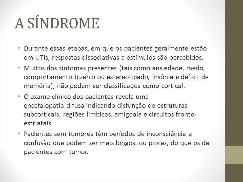 A SÍNDROME Durante essas etapas, em que os pacientes geralmente estão em UTIs, respostas dissociativas a estímulos são percebidos.