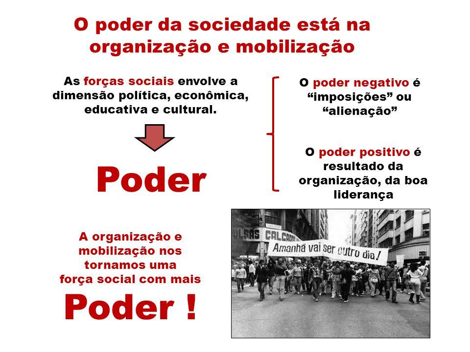 Poder O poder da sociedade está na organização e mobilização