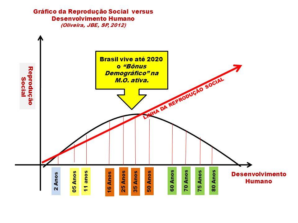 Brasil vive até 2020 o Bônus Demográfico na M.O. ativa.