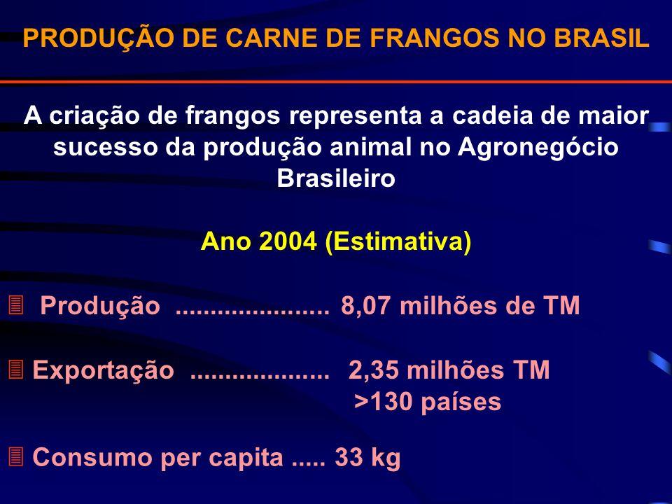 PRODUÇÃO DE CARNE DE FRANGOS NO BRASIL