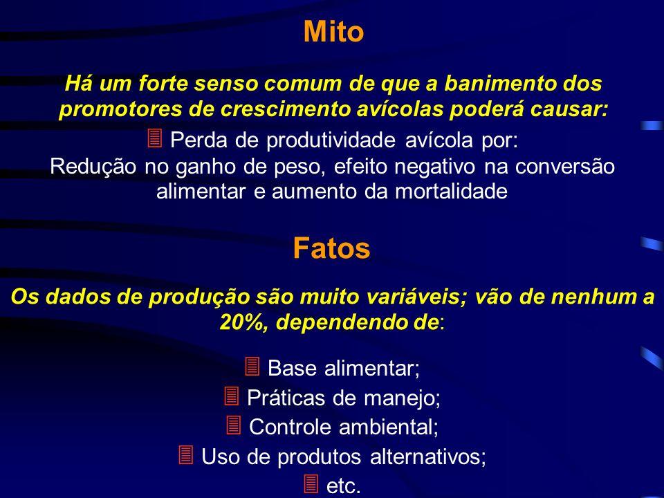 Mito Fatos  Perda de produtividade avícola por:  Base alimentar;