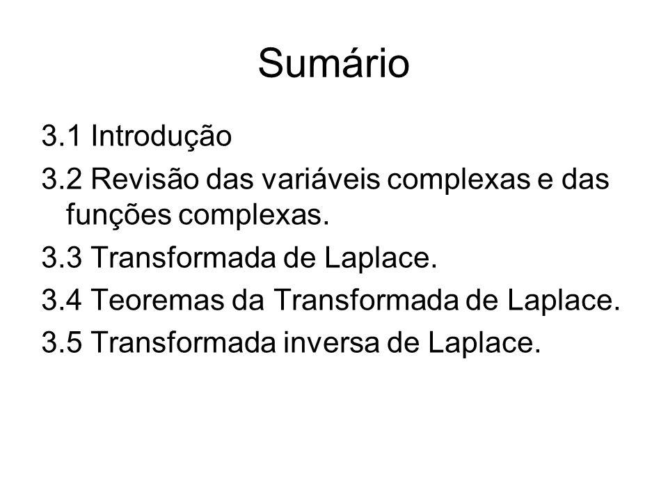 Sumário 3.1 Introdução. 3.2 Revisão das variáveis complexas e das funções complexas. 3.3 Transformada de Laplace.