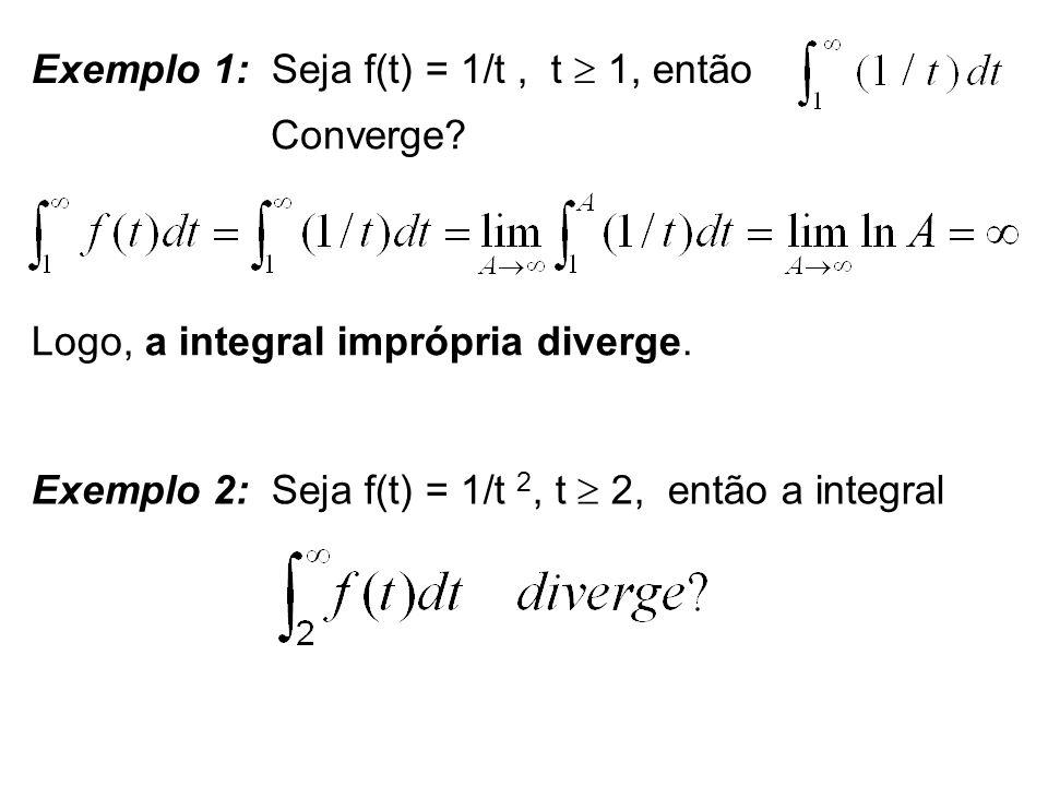 Exemplo 1: Seja f(t) = 1/t , t  1, então