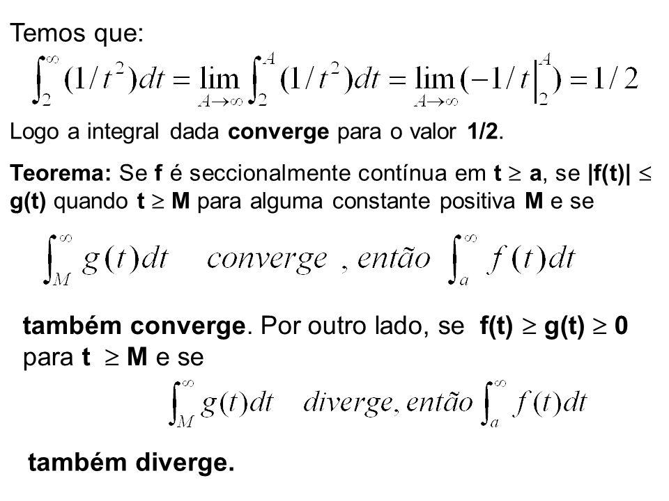 também converge. Por outro lado, se f(t)  g(t)  0 para t  M e se