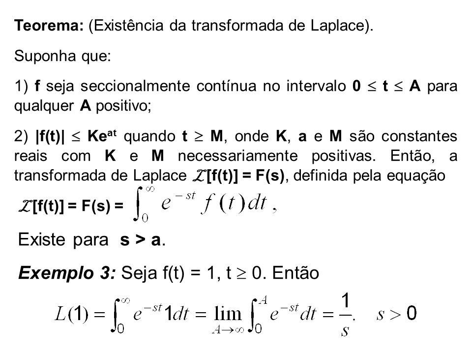 Exemplo 3: Seja f(t) = 1, t  0. Então