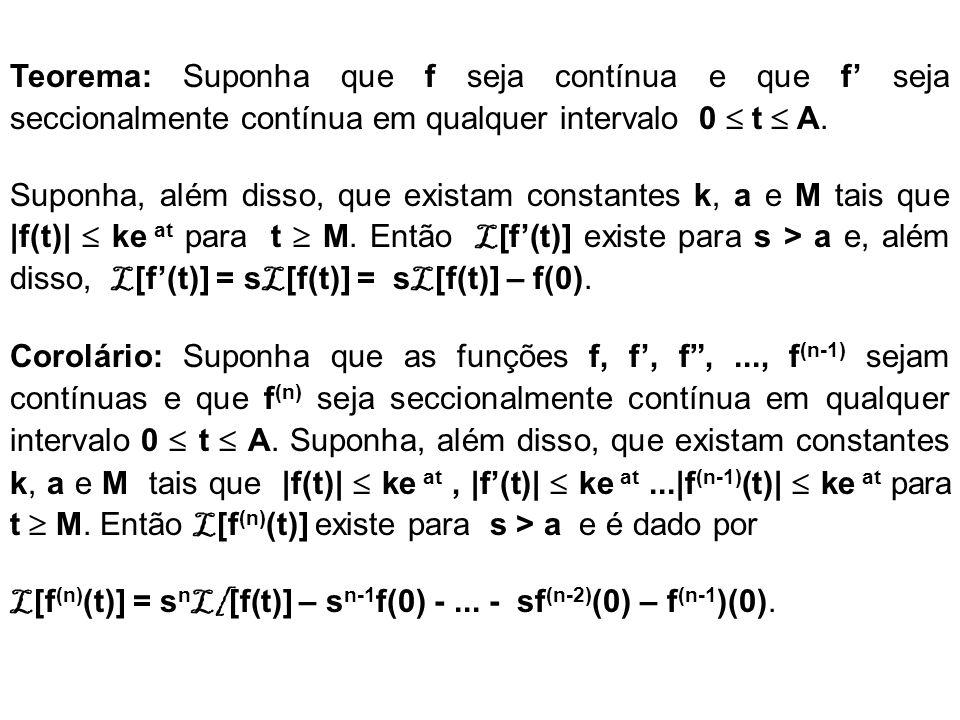 Teorema: Suponha que f seja contínua e que f' seja seccionalmente contínua em qualquer intervalo 0  t  A.