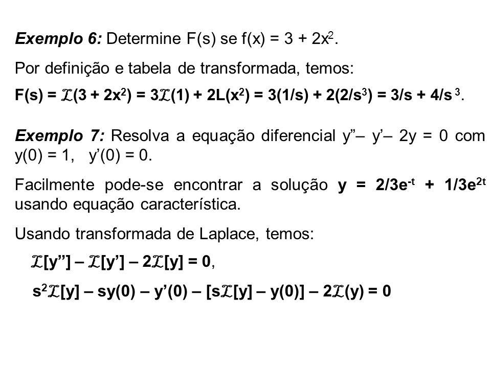 Exemplo 6: Determine F(s) se f(x) = 3 + 2x2.