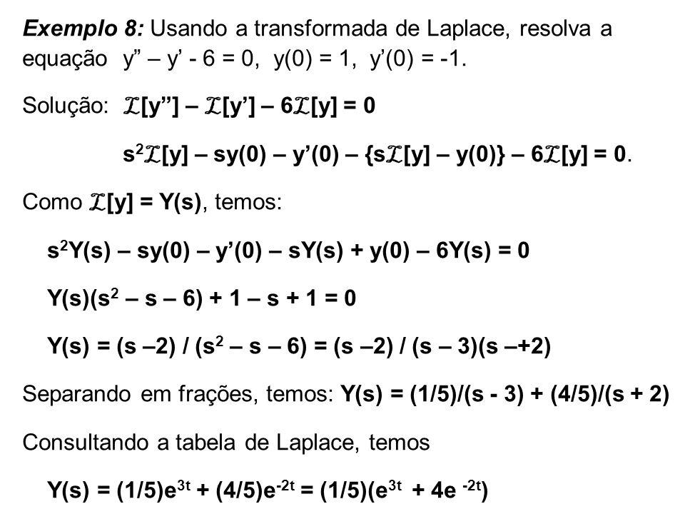 Exemplo 8: Usando a transformada de Laplace, resolva a equação y – y' - 6 = 0, y(0) = 1, y'(0) = -1.