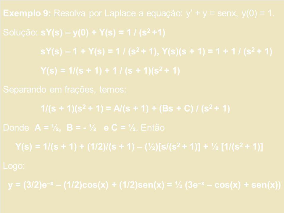 Exemplo 9: Resolva por Laplace a equação: y' + y = senx, y(0) = 1.