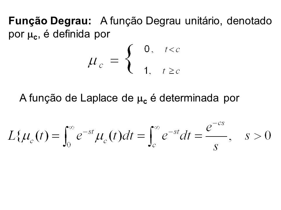 Função Degrau: A função Degrau unitário, denotado por c, é definida por