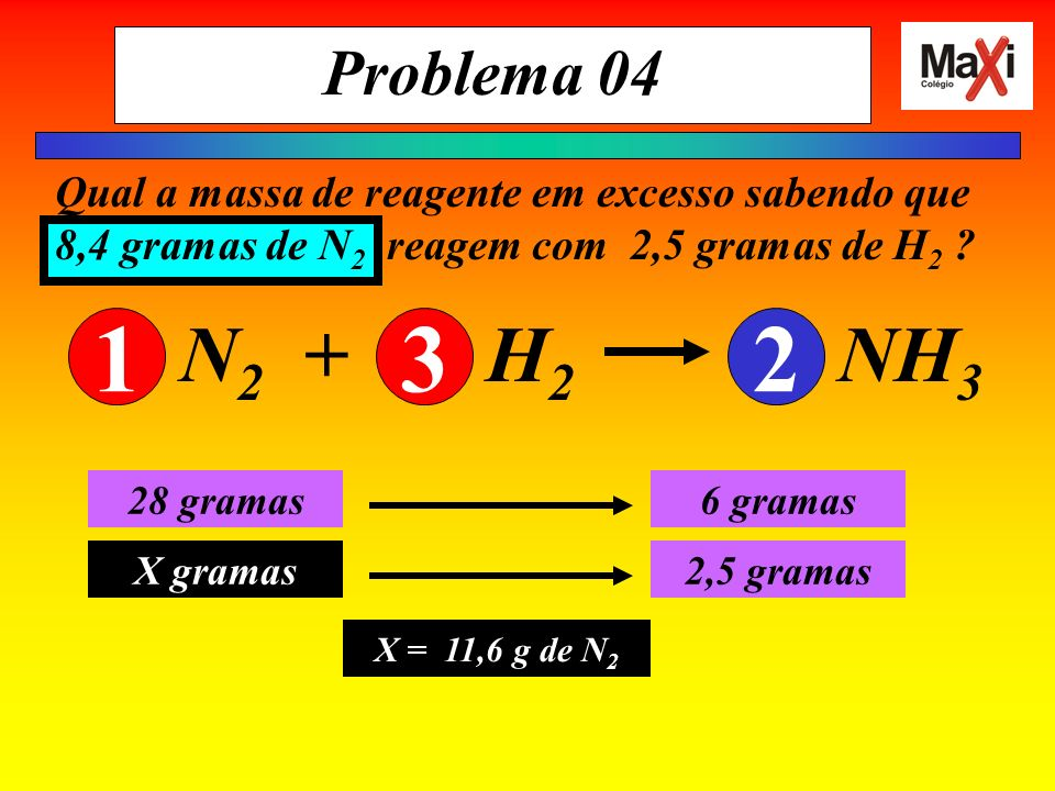 Problema 04 Qual a massa de reagente em excesso sabendo que 8,4 gramas de N2 reagem com 2,5 gramas de H2
