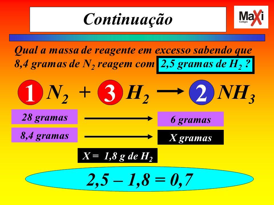 Continuação Qual a massa de reagente em excesso sabendo que 8,4 gramas de N2 reagem com 2,5 gramas de H2